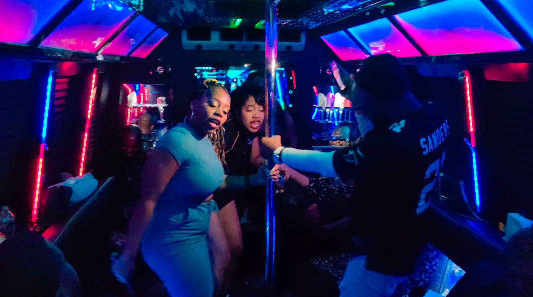 Dicko Transportation 24 Passenger Party Bus Pole Action